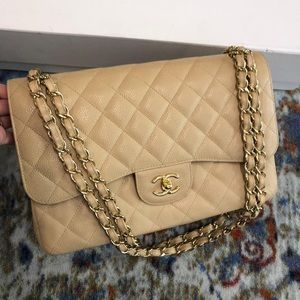 Chanel Jumbo Caviar Double Flap Bag, Gold Hardware